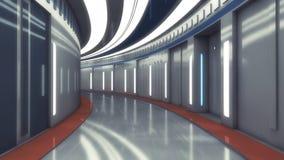 Φουτουριστικός κενός εσωτερικός διάδρομος απεικόνιση αποθεμάτων