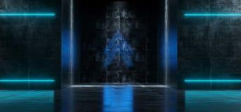 Φουτουριστικός κενός σκοτεινός Grunge συγκεκριμένος εσωτερικός διάδρομος W του Sci Fi διανυσματική απεικόνιση