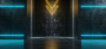 Φουτουριστικός κενός σκοτεινός Grunge συγκεκριμένος εσωτερικός διάδρομος W του Sci Fi απεικόνιση αποθεμάτων