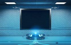 Φουτουριστικός οριζόντιος πίνακας διαφημίσεων στην υπόγεια χλεύη υπόγειων μετρό διανυσματική απεικόνιση