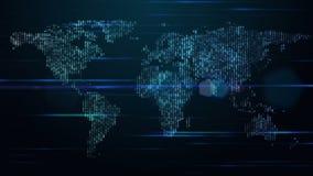 Φουτουριστικός παγκόσμιοι χάρτης και φω'τα στην κίνηση, βρόχος HD 1080p διανυσματική απεικόνιση