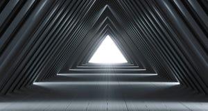 Φουτουριστικός ρεαλιστικός διάδρομος του Sci Fi με τα άσπρα φω'τα και Refle ελεύθερη απεικόνιση δικαιώματος