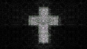 Φουτουριστικός σταυρός στο μαύρο υπόβαθρο διανυσματική απεικόνιση