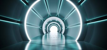 Φουτουριστικός στρογγυλός διαμορφωμένος κύλινδρος διάδρομος του Sci Fi με το οδηγημένο μπλε Α διανυσματική απεικόνιση