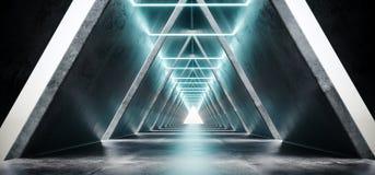 Φουτουριστικός σύγχρονος συγκεκριμένος μακρύς διάδρομος διαστημοπλοίων του Sci Fi με το W ελεύθερη απεικόνιση δικαιώματος