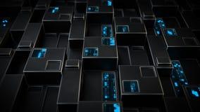 Φουτουριστικός τοίχος sci-Fi με την ψηφιακή τρισδιάστατη απόδοση κώδικα ΔΕΚΑΕΞΑΔΙΚΟΥ διανυσματική απεικόνιση
