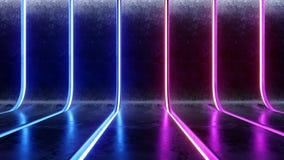 Φουτουριστικός του Sci Fi σύγχρονος σκοτεινός συγκεκριμένος κυρτός τοίχος έννοιας τεχνολογίας διαστημοπλοίων κενός με το μπλε και διανυσματική απεικόνιση