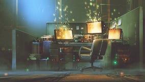 Φουτουριστικός χώρος εργασίας με την καμμένος οθόνη απεικόνιση αποθεμάτων