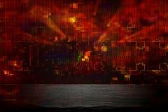 Φουτουριστικό αναδρομικό υπόβαθρο του αναδρομικού ύφους 80 ` s Ψηφιακή ή επιφάνεια Cyber φω'τα νέου και γεωμετρικό σχέδιο Στοκ φωτογραφίες με δικαίωμα ελεύθερης χρήσης