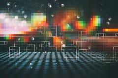 Φουτουριστικό αναδρομικό υπόβαθρο του αναδρομικού ύφους 80 ` s Ψηφιακή ή επιφάνεια Cyber φω'τα νέου και γεωμετρικό σχέδιο Στοκ Εικόνα