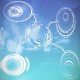 Φουτουριστικό αντικείμενο ενάντια στη σύνθετη εικόνα της άποψης της τεχνολογίας στοιχείων Στοκ φωτογραφίες με δικαίωμα ελεύθερης χρήσης