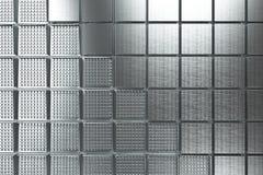 Φουτουριστικό βιομηχανικό υπόβαθρο που γίνεται από τις βουρτσισμένες τετραγωνικές μορφές μετάλλων Στοκ εικόνες με δικαίωμα ελεύθερης χρήσης