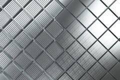 Φουτουριστικό βιομηχανικό υπόβαθρο που γίνεται από τις βουρτσισμένες τετραγωνικές μορφές μετάλλων Στοκ Εικόνα