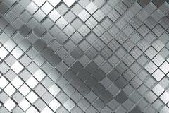 Φουτουριστικό βιομηχανικό υπόβαθρο που γίνεται από τις βουρτσισμένες τετραγωνικές μορφές μετάλλων Στοκ Εικόνες