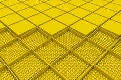 Φουτουριστικό βιομηχανικό υπόβαθρο που γίνεται από τις κίτρινες τετραγωνικές μορφές Στοκ Φωτογραφίες