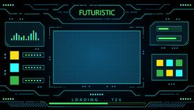 Φουτουριστικό διανυσματικό σχέδιο τεχνολογίας διεπαφών για τη μελλοντική επιχειρησιακή τεχνολογία Στοκ Εικόνα