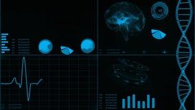 Φουτουριστικό ενδιάμεσο με τον χρήστη με τις απεικονίσεις ανίχνευσης και ηλεκτροκαρδιογραφημάτων καρδιών, ανίχνευση εγκεφάλου, DN απόθεμα βίντεο