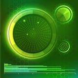 Φουτουριστικό ενδιάμεσο με τον χρήστη Πράσινα στοιχεία HUD καθορισμένα απεικόνιση αποθεμάτων