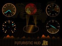 Φουτουριστικό ενδιάμεσο με τον χρήστη HUD απεικόνιση αποθεμάτων