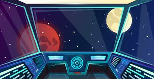 Φουτουριστικό εσωτερικό διαστημοπλοίων της γέφυρας καπετάνιων στο ύφος κινούμενων σχεδίων Διανυσματική απεικόνιση διοικητηρίων με ελεύθερη απεικόνιση δικαιώματος