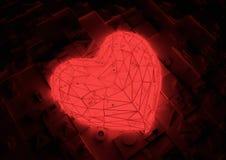 φουτουριστικό κόκκινο καρδιών Στοκ Εικόνα