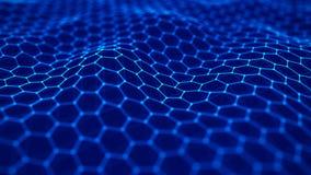 Φουτουριστικό μπλε hexagon υπόβαθρο Φουτουριστική κυψελωτή έννοια E r διανυσματική απεικόνιση