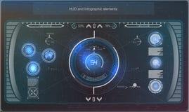Φουτουριστικό μπλε infographics ως head-up επίδειξη Στοιχεία ναυσιπλοΐας επίδειξης για τον Ιστό και app Φουτουριστικό ενδιάμεσο μ Στοκ Εικόνα