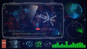 Φουτουριστικό μπλε εικονικό γραφικό ενδιάμεσο με τον χρήστη HUD αφής γήινος ψηφιακός χάρτης Στοκ εικόνα με δικαίωμα ελεύθερης χρήσης