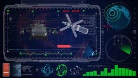 Φουτουριστικό μπλε εικονικό γραφικό ενδιάμεσο με τον χρήστη HUD αφής Στρατιωτικό μαύρο γεράκι ελικοπτέρων στρατού Στοκ Εικόνες