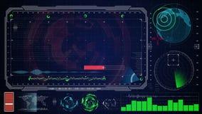 Φουτουριστικό μπλε εικονικό γραφικό ενδιάμεσο με τον χρήστη HUD αφής γήινος ψηφιακός χάρτης απεικόνιση αποθεμάτων