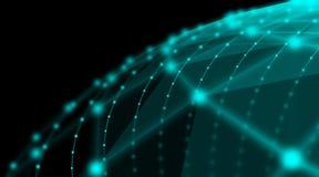 Φουτουριστικό παγκόσμιο δίκτυο σύνδεσης σφαιρών τεχνολογίας cyber, υπολογιστής, εικονικά οπτικά καλώδια ινών, σύνδεση ινών Στοκ εικόνα με δικαίωμα ελεύθερης χρήσης