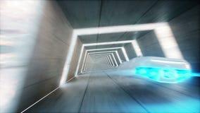 Φουτουριστικό πετώντας αυτοκίνητο με τη γρήγορη οδήγηση γυναικών sci στη σήραγγα FI, coridor Έννοια του μέλλοντος Ρεαλιστική 4K ζ