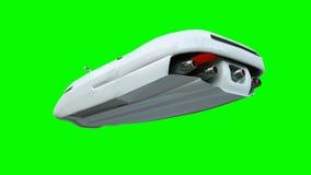 Φουτουριστικό πετώντας αυτοκίνητο με τη γυναίκα Μεταφορά του μέλλοντος απομονώστε τρισδιάστατη απόδοση απεικόνιση αποθεμάτων