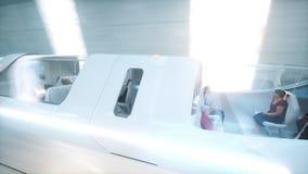 Φουτουριστικό πετώντας λεωφορείο με τη γρήγορη οδήγηση λαών sci στη σήραγγα FI, coridor Έννοια του μέλλοντος Ρεαλιστική 4K ζωτικό