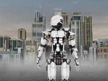 Φουτουριστικό ρομπότ με το υπόβαθρο πόλεων. Στοκ Εικόνες