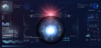 Φουτουριστικό σχέδιο επίδειξης VR Head-up Κράνος HUD του Sci Fi Μελλοντικό σχέδιο επίδειξης τεχνολογίας Στοκ φωτογραφία με δικαίωμα ελεύθερης χρήσης
