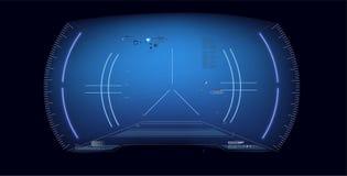 Φουτουριστικό σχέδιο επίδειξης VR Head-up Κράνος HUD του Sci Fi Μελλοντικό σχέδιο επίδειξης τεχνολογίας Οθόνη τεχνολογίας πραγματ ελεύθερη απεικόνιση δικαιώματος