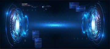 Φουτουριστικό σχέδιο οθόνης διεπαφών κύκλων διανυσματικό HUD Αφηρημένο ύφος στο μπλε υπόβαθρο αφηρημένο διάνυσμα ανασκόπ& απεικόνιση αποθεμάτων