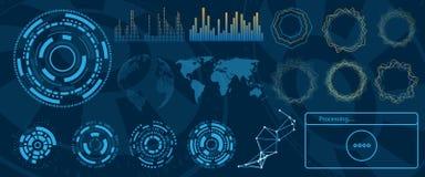 Φουτουριστικό σχέδιο Hud διεπαφών, στοιχεία Infographic, τεχνολογία και επιστήμη, θέμα ανάλυσης απεικόνιση αποθεμάτων