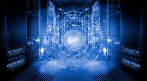 Φουτουριστικό σχέδιο τεχνολογίας στο υπόβαθρο των φανταστικών συμμετρικών κεντρικών υπολογιστών αριθμού Στοκ Εικόνες