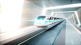 Φουτουριστικό σύγχρονο τραίνο, γρήγορη οδήγηση μονοτρόχιων σιδηροδρόμων sci στη σήραγγα FI, coridor Έννοια του μέλλοντος Ρεαλιστι