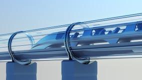 Φουτουριστικό τραίνο μονοτρόχιων σιδηροδρόμων στη σήραγγα τρισδιάστατη απόδοση Στοκ Φωτογραφία