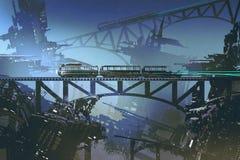 Φουτουριστικό τραίνο στο σιδηρόδρομο και γέφυρα στην εγκαταλειμμένη πόλη Στοκ Φωτογραφία