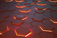 Φουτουριστικό υπόβαθρο που αποτελείται από φλεμένος hexagons που τακτοποιούνται σε ένα αεροπλάνο στοκ φωτογραφίες