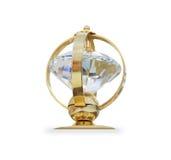 Φουτουριστικό χρυσό βραβείο που απομονώνεται πέρα από το λευκό Στοκ εικόνα με δικαίωμα ελεύθερης χρήσης