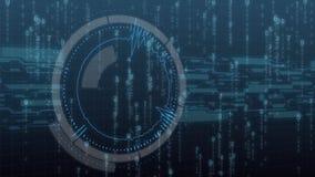 Φουτουριστικό ψηφιακό ενδιάμεσο με τον χρήστη τεχνολογίας HUD, οθόνη ραντάρ με τη διάφορη επιχειρησιακή επικοινωνία στοιχείων τεχ ελεύθερη απεικόνιση δικαιώματος