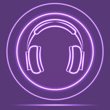 Φουτουριστικό ύφος αισθητήρων εικονιδίων ακουστικών πυράκτωσης νέου eps10 να γεμίσει προτύπων λουλουδιών πορτοκαλιά rac ric ράβον Στοκ Φωτογραφία