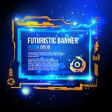 Φουτουριστικό sci-Fi έμβλημα, υπόβαθρο τεχνολογίας, διεπαφή, HUD, διάνυσμα ελεύθερη απεικόνιση δικαιώματος