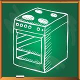 Φούρνος στον πράσινο πίνακα κιμωλίας Στοκ εικόνα με δικαίωμα ελεύθερης χρήσης