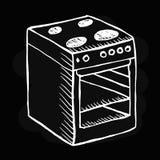 Φούρνος στο μαύρο υπόβαθρο Στοκ Φωτογραφία
